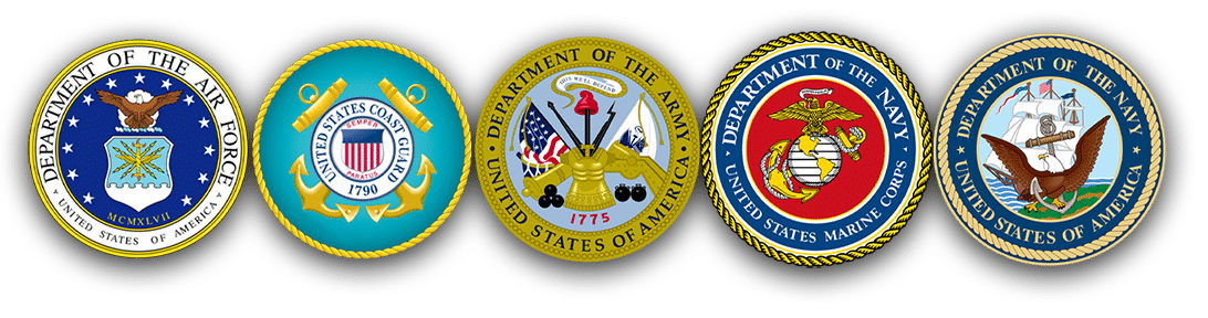 Logos for the different branches of the military. Veterans of these branches may be eligible for a truck driving apprenticeship with us